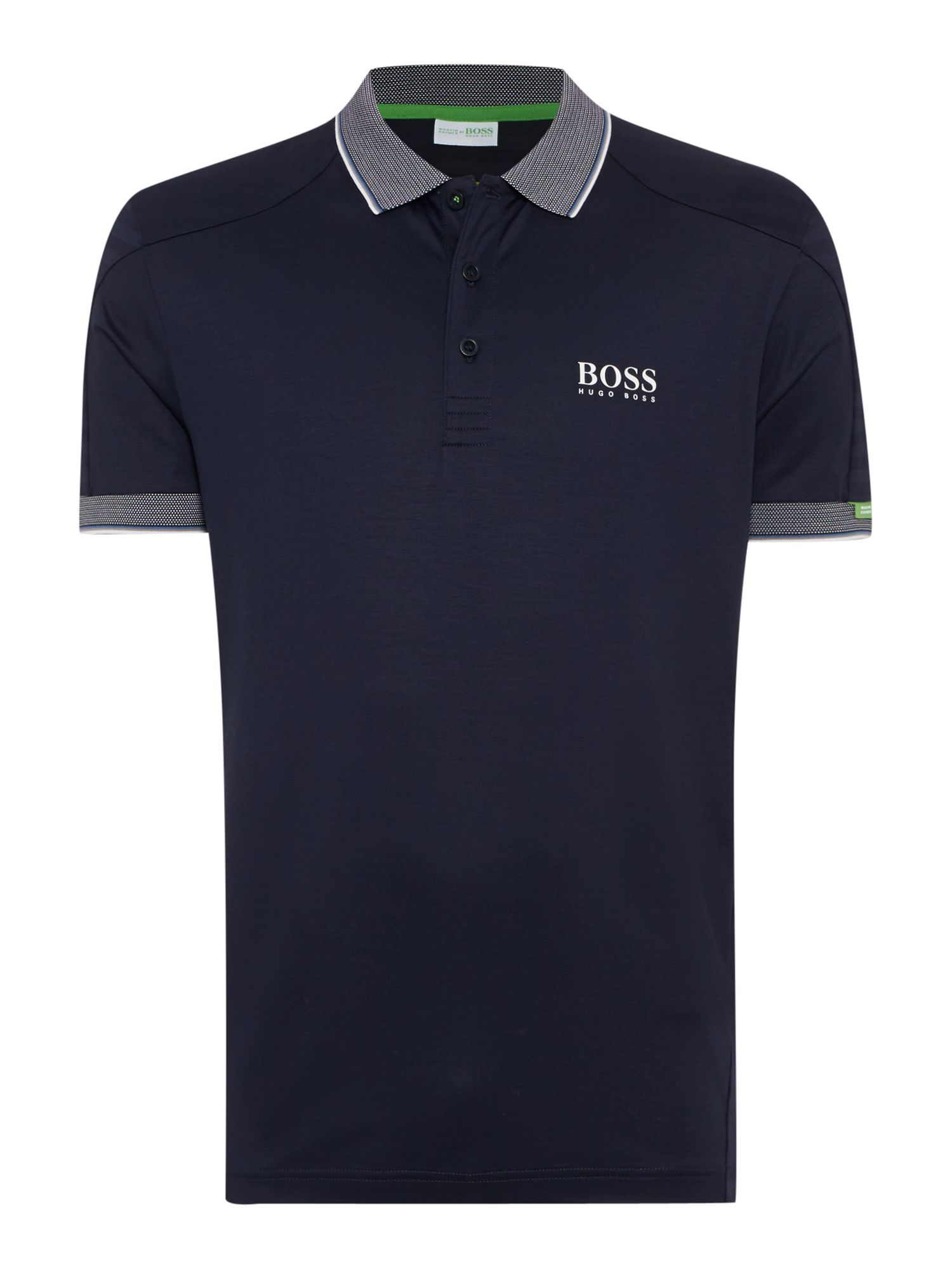 Mens Hugo Boss Golf Regular Fit Polo Shirt With Contrast Collar Navy