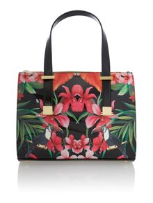 Black toucan patent medium tote bag