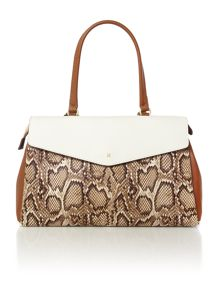 Madison neutral snake flap over tote bag