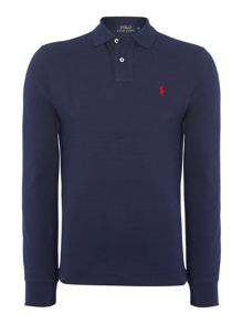 Plain Polo Shirt Long Sleeve Slim Fit