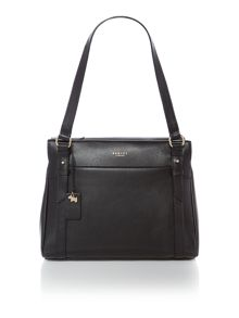 Chelsea black medium ziptop tote bag