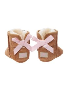 Newborn bow sheepskin bootie