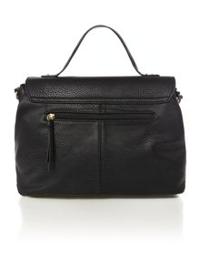 Casey black flapover satchel bag
