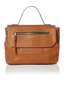 Casey tan flapover satchel bag