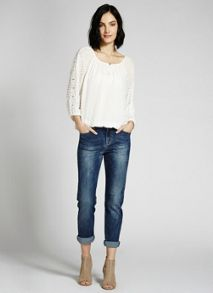 Ivory Lace Sleeve Dobby Top