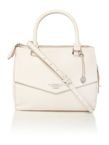 Mia white small cross body tote bag