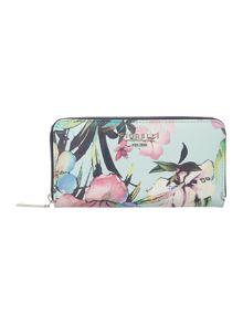 Evelyn multi coloured large zip around purse