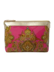 Bath pink paisley large cosmetic bag