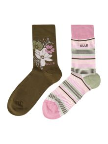 Elle 2PP patterned bamboo socks