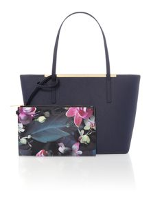 Noelle navy large saffiano tote bag