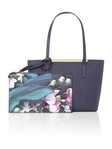 Phoebie navy small saffiano tote bag