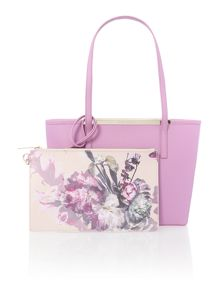 Phoebie purple small saffiano tote bag
