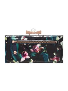 Tenda navy floral print crystal flap over purse