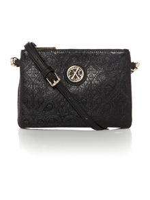 Arty black cross body bag
