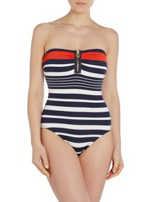 Stripe Bandeau Swimsuit