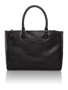 Plain leather double zip tote