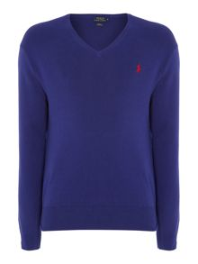 V Neck Slim Fit Pima Cotton Jumper