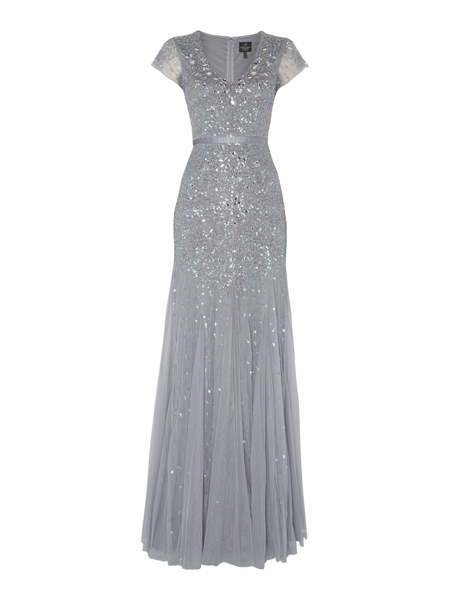 Adrianna Papell Jewel sequin dress with flutter sleeves $290.00 AT vintagedancer.com