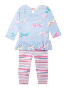 Baby girls pony print and stripe top and trouser