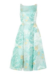 Sleeves midi press with floral jacquard dress