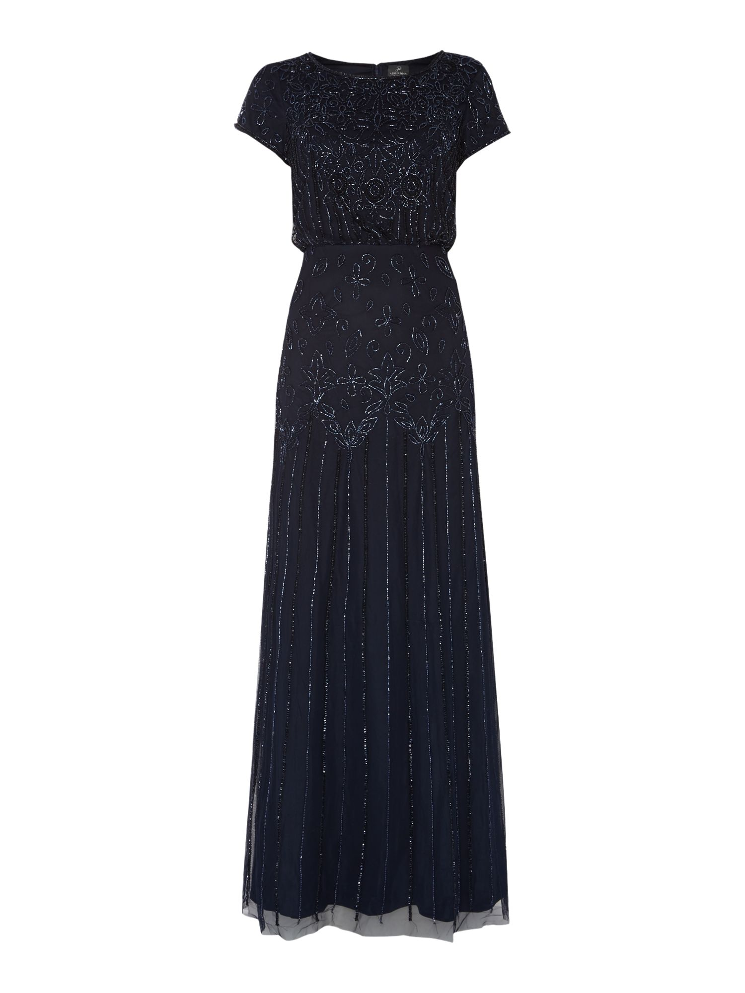 Adrianna Papell All over beaded cap sleeve dress $190.00 AT vintagedancer.com