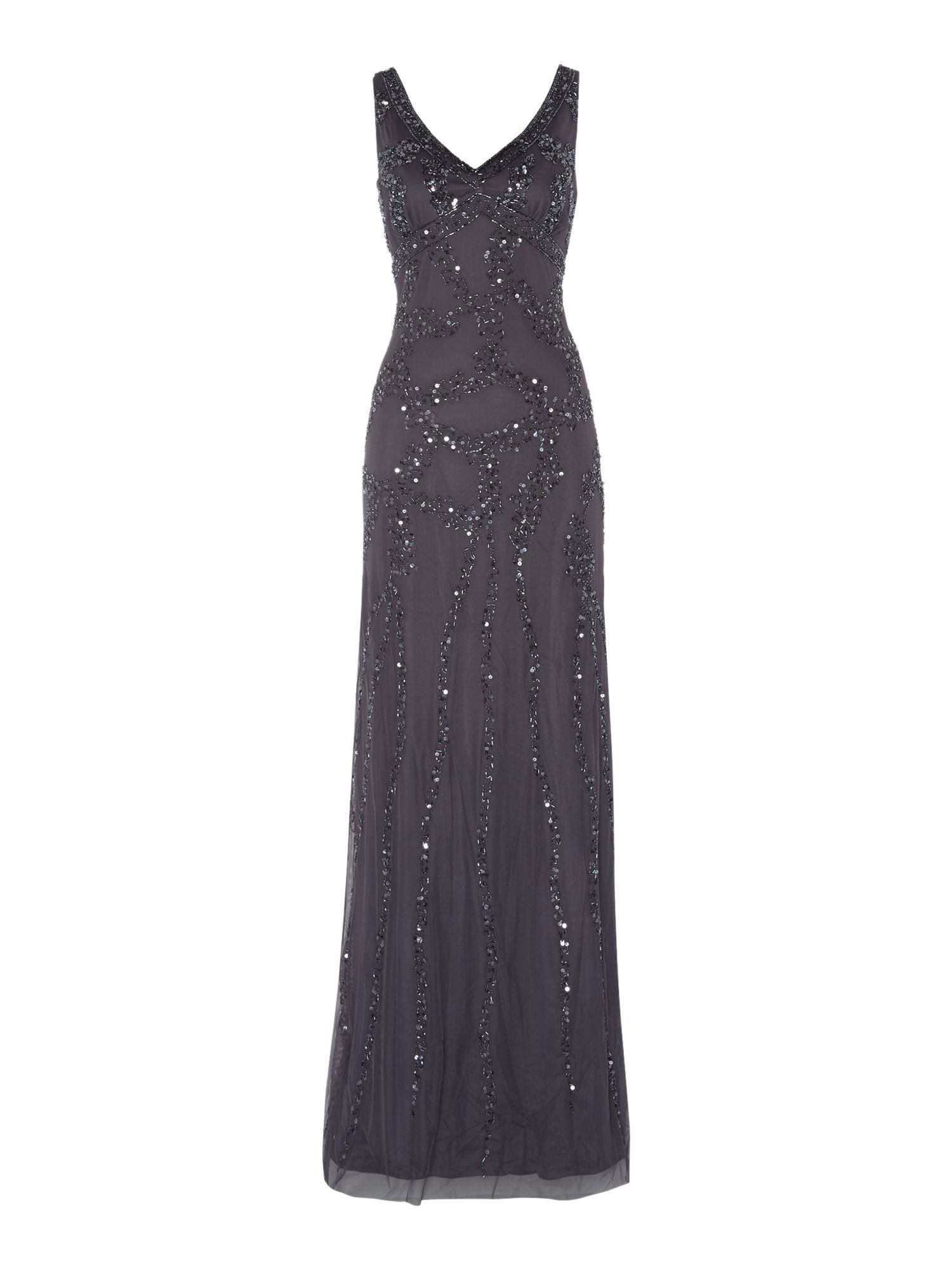 Adrianna Papell Sleeveless beaded gown $190.00 AT vintagedancer.com