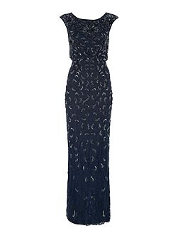 All over lace gown with sequin detail