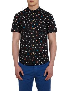 Paul Smith Jeans Patternedclassic Fit Short Sleeve Shirt