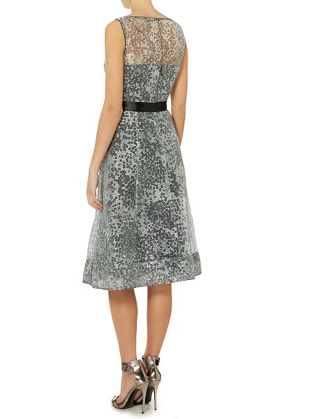 Adrianna Papell Sleeveless stripped organza cocktail dress
