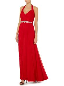 Halterneck gown with crystal waistband