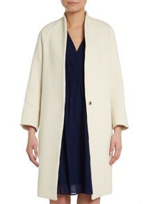 one button collarless coat