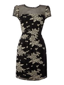 Hoss Intropia Shortsleeve floral applique dress with mesh top