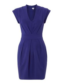 V neck jersey dress with pleat detail