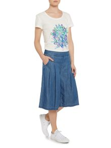 top placement print peacock tee