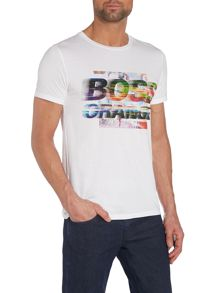 Blurred Logo Print T Shirt