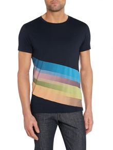 Diagonal Stripe Printed T Shirt