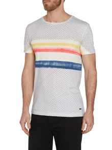 Crew Neck Regular Fit T Shirt In Stripe And Geo P