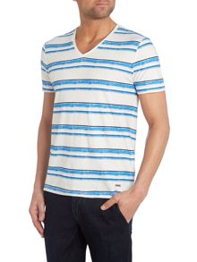 V Neck Striped T Shirt