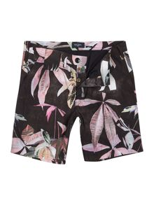 All Over Leaf Print Cotton Shorts