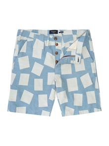 Jaquard Square Pattern Cotton Shorts