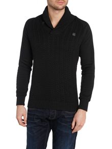 Shawl Neck Jumper In Cable Knit