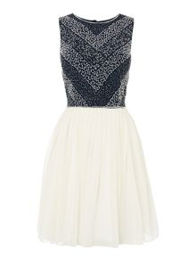 Sleeveless full sequinned top dress