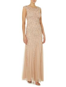 Sleeveless gown with graduated beads