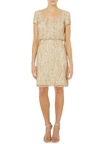 Beaded blouson cocktail dress