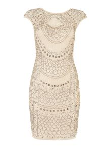 Cap sleev teardrop full beaded dress