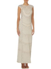 Cap sleeve full beaded maxi dress