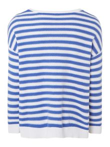 Girls jewel neck stripe knit