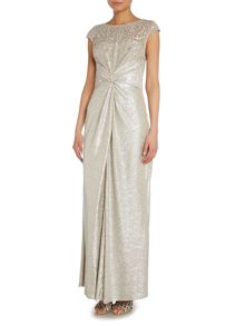 Metallic gown with lace sheer top