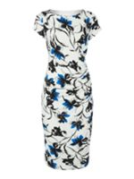 Painted floral short sleeve dress