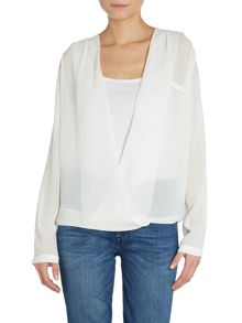 Long Sleeved cross over blouse top